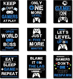 9 Pieces Funny Gaming Art Prints Gaming Posters, Video Game Wall Decor for Men Boys Kids Playroom Bedroom Home Decoration Man Bedroom, Video Game Art Prints, Unframed