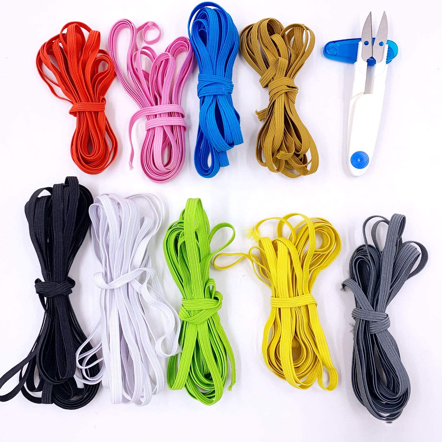 Elastic Band Sewing Coloured Elastic for Sewing 5mm Braided Elastic Band Earloop Rope Cord High Elasticity for Sewing Crafts DIY Clothes