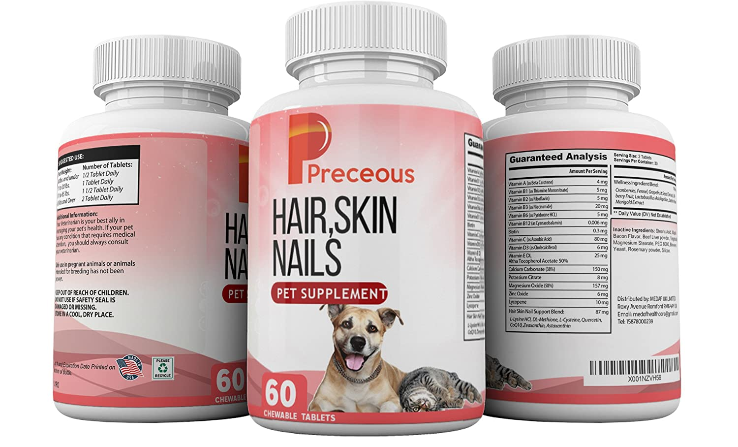Amazon.com: Preceous Hair Skin Nails Dietary Pet Supplement for Dogs ...
