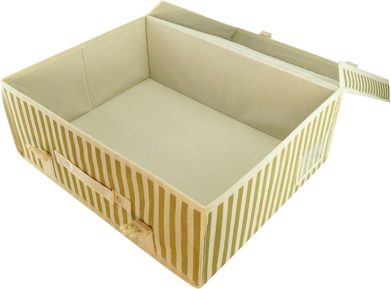 HANGERWORLD Set 3 gestreifte Aufbewahrungsboxen ph-Neutral Lagerung Kleidung Hochzeitskleid Bettw/äsche