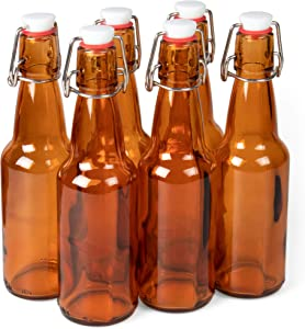 11 oz. Amber Glass Grolsch Beer Bottles – Airtight Seal with Swing Top/Flip Top Stoppers - Supplies for Home Brewing & Fermenting of Alcohol, Kombucha Tea, Wine, Homemade Soda (6-pack)