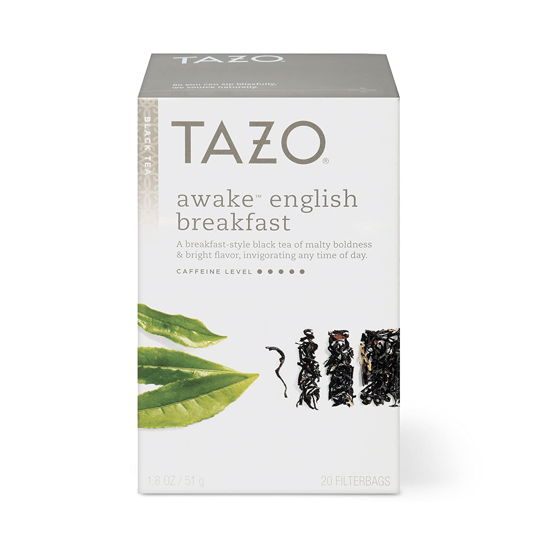 Tazo Awake English Breakfast Tea Bags For a Bold Traditional Breakfast-Style Tea Black Tea Highly Caffeinated Tea 20 Tea Bags