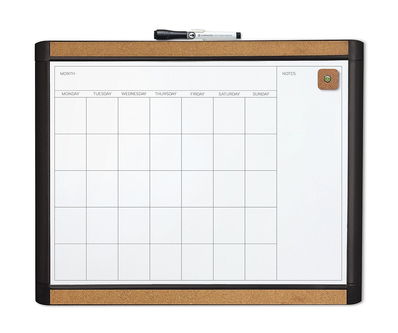 U Brands Pin-It Magnetic Dry Erase Monthly Calendar Board, 20 X 16-Inch, Black Frame 436U00-01