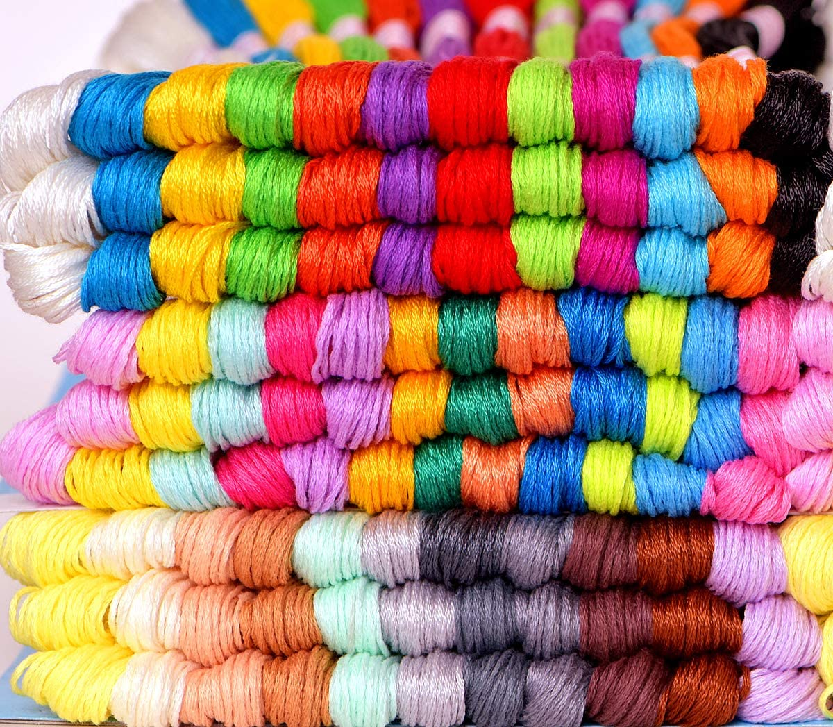 105 Skeins Per Pack and Free Set of 30 Embroidery Needles and 2 Needle Threaders Cross Stitch Threads Premium Vibrant Rainbow Color Embroidery Floss Friendship Bracelets Floss Crafts Floss