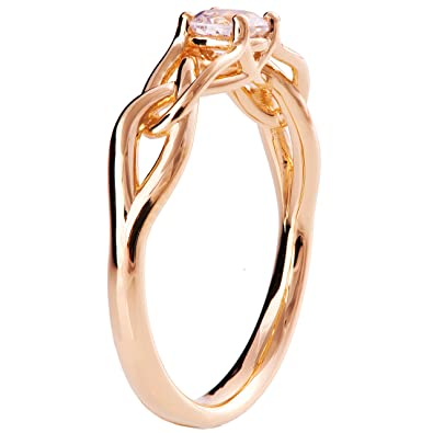cd741aca837721 18K Rose Gold Engagement Ring For Women Charles & Colvard Forever One  Moissanite Solitaire Unique Textured