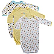 Luvable Friends Baby Cotton Gowns, Yellow Sheep 3-Pack One Size