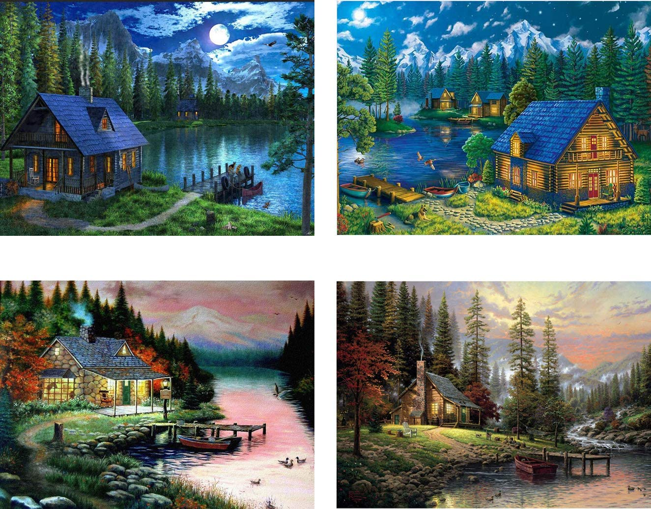 OurSuperDeals 5D Full Drill Diamond Art Painting Kits DIY Kit for Adult Landscape Mountain Cabin Lake Home Wall Decor 11.8x15.8inch 4 Pack