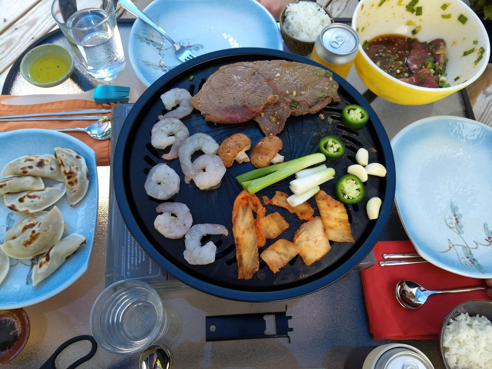 Portable Korean Outdoor Barbecue Gas Grill Pan Camping Gas Stove Plate BBQ Roasting Cooking Tool Sets photo review