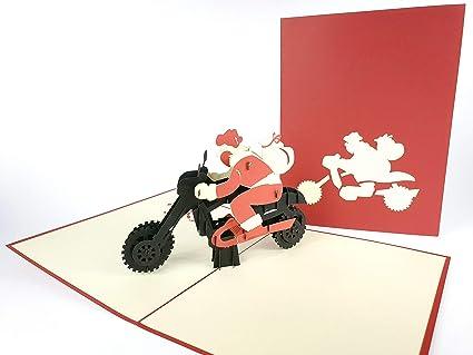 Tarjeta de felicitación 3D de Papá Noel con diseño de moto ...
