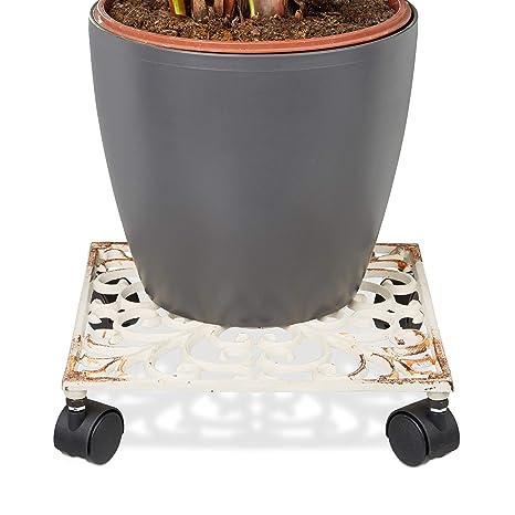 Relaxdays – Soporte cuadrado con ruedas para plantas hecho de hierro fundido resistente a la intemperie