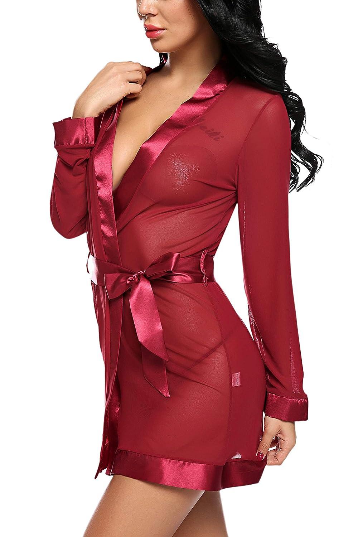 Avidlove Women Kimono Robe Lace Lingerie Babydoll Set Mesh Nightgown with Satin Belt