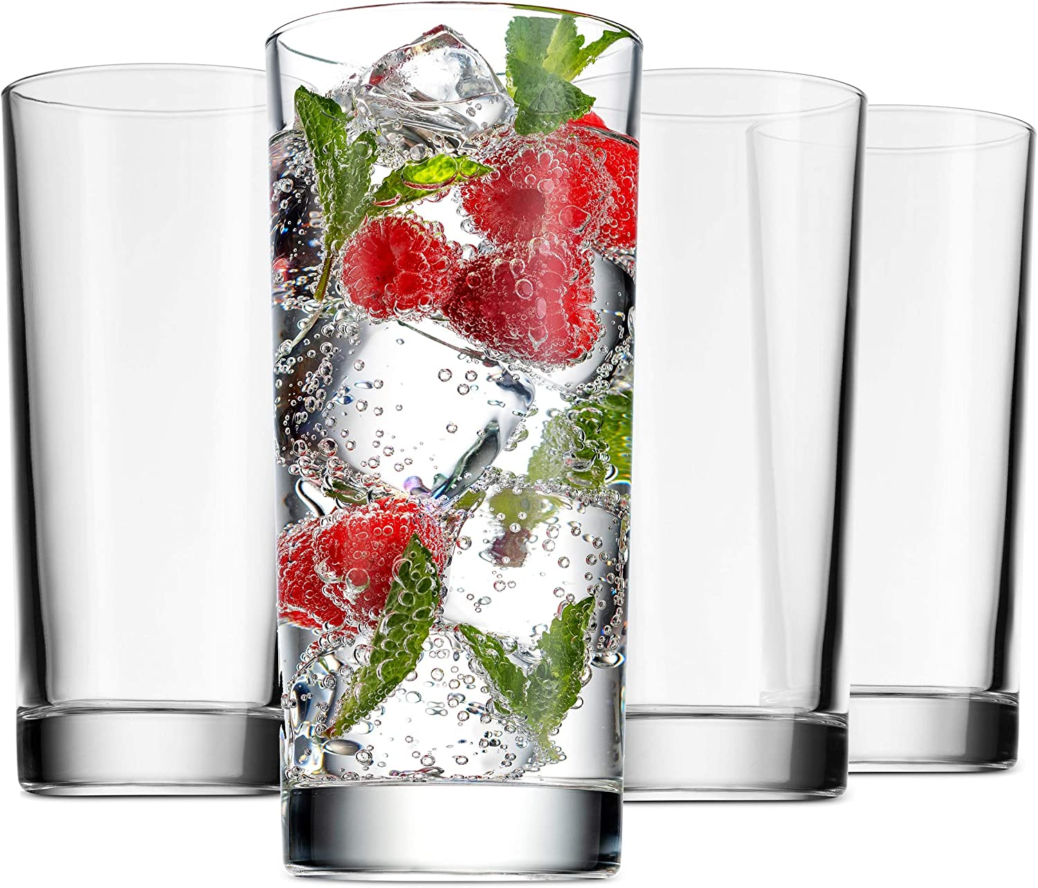 Godinger Highball Glasses, Italian Made Glass Tall Beverage Cups - 14oz, Set of 4