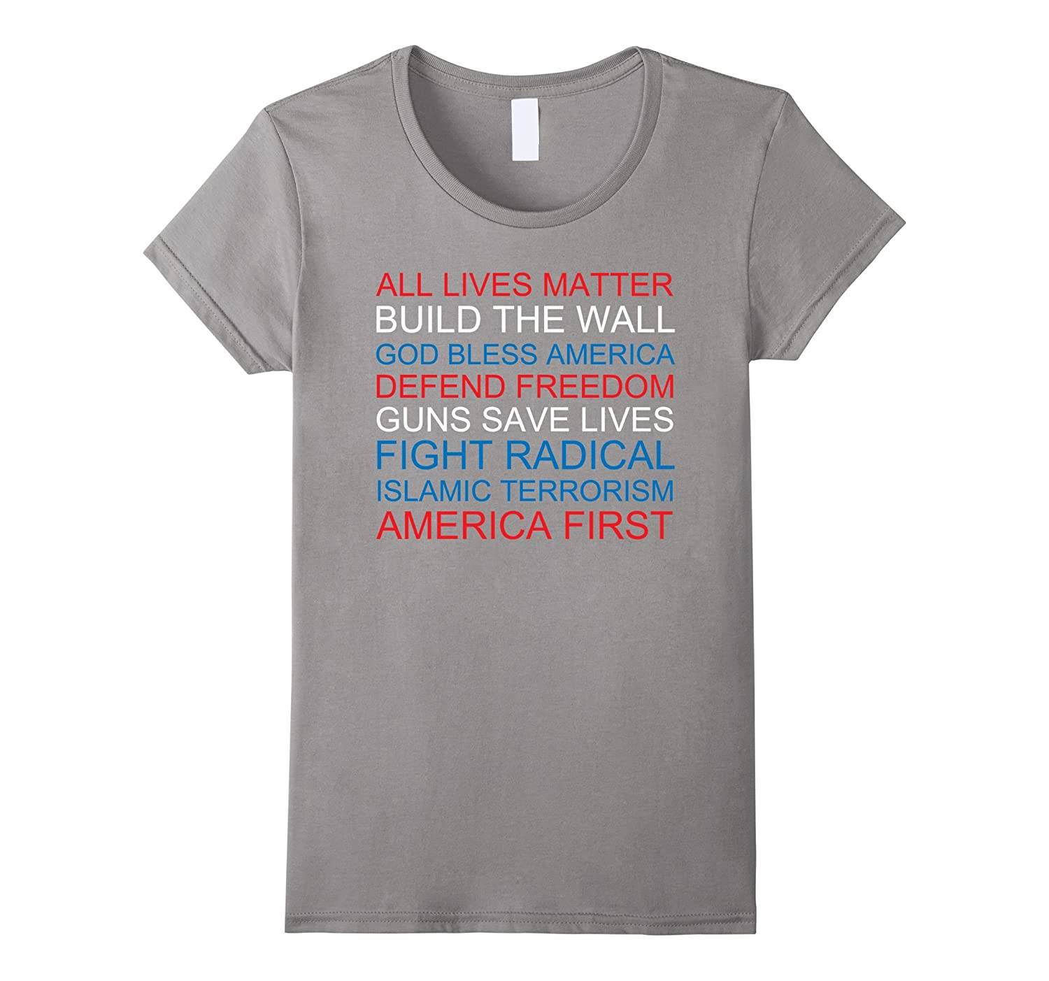 America First Build the Wall Pro-Trump Funny T-Shirt
