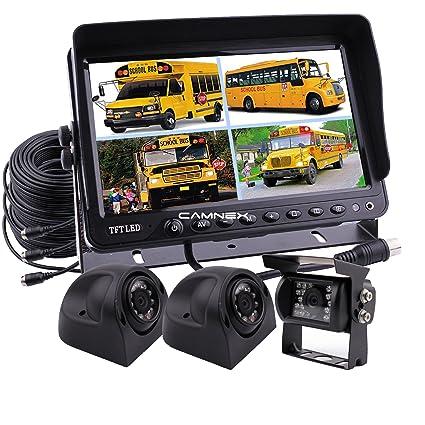 Camnex Car Backup Camera System 9 TFT LCD Monitor with Quad Split Screen Rear View Camera Monitor Kit Side Camera for Truck Van Caravan Trailers Camper Bus RV