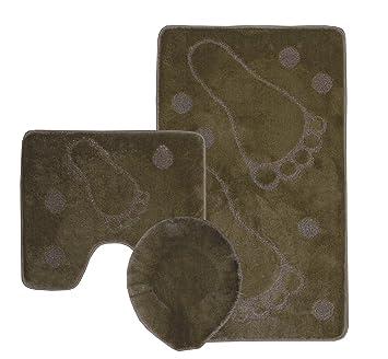 Pie de lujo Imprimir 3 Piece Set Alfombra de Baño Pequeño, PADESTAL MAT & SEATCOVER