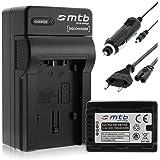 Batterie + Chargeur (Auto/Secteur) pour VW-VBT190 / Panasonic HC-VX989... / HC-W570, W850, WX979... v. liste! Infochip: avec affichage du niveau de batterie restant!
