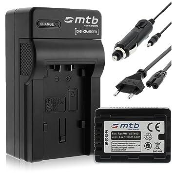 Batería + Cargador (Coche/Corriente) para VW-VBT190 / Panasonic HC-VX989... / HC-W570, W850, WX979... v. lista! con Infochip