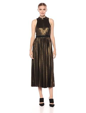 f7cd57fdf3c Donna Morgan Women's Metallic Mockneck Midi Dress, Black/Gold Multi, ...