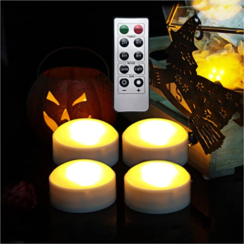 LED Pumpkin Lights with Remote and Timer, Battery Operated Bright Flickering Flameless Candle Lights for Pumpkin Decor, Jack-O-Lantern Halloween Party Decorations, White Color, 4 Pack with 1 Remote