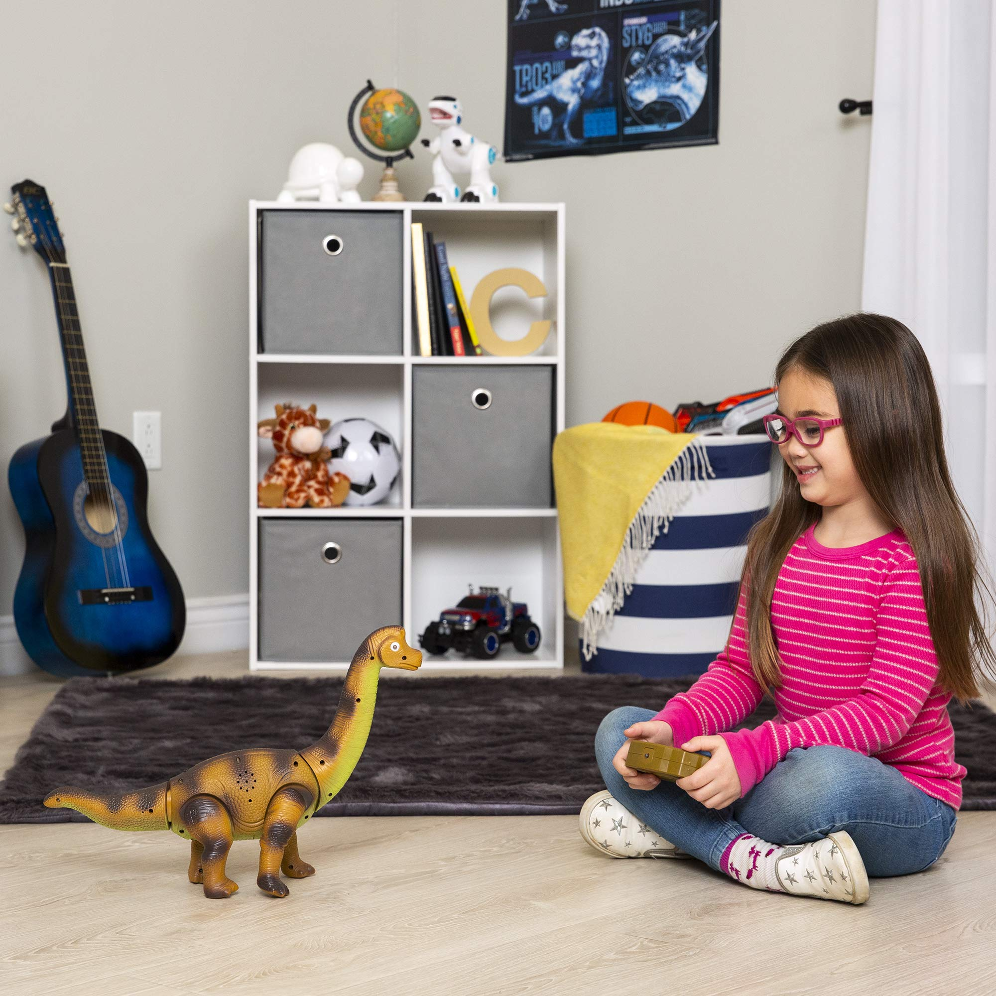 Best Choice Products 17.5in Kids RC Stomping Brachiosaurus Dinosaur Electric Animal Toy Robot w/ Light Up Eyes, Roaring Sounds, Swinging Head, Remote Control by Best Choice Products (Image #2)