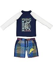 fbd4f3ca1ec Tommy Bahama Toddler Boys' Long Sleeve Rashguard and Trunks Swimsuit Set