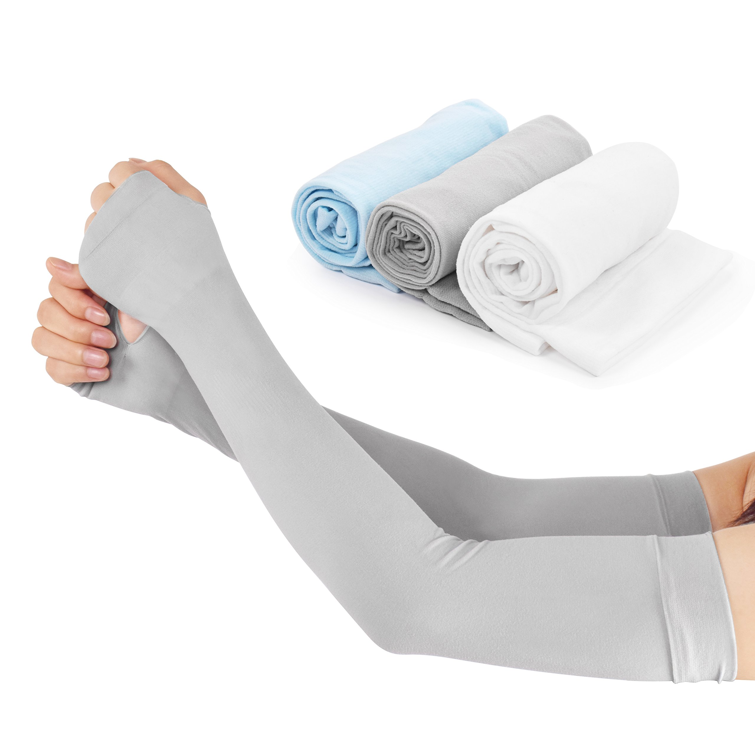 Women Cooling Arm Sleeves Cotton Thumb Hole UV Protection Compression Arm Sleeves Gloves Sleeves for Cycling, Driving, Outdoor Sports, Golf Sleeves 3Pairs(3 Colors)