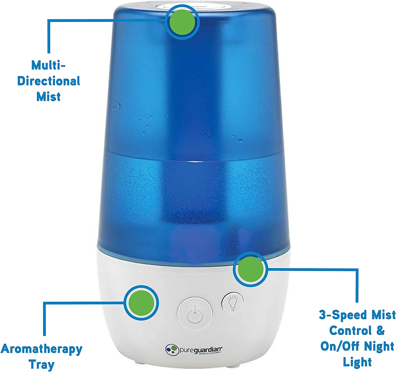 PureGuardian H965 70 Hour Ultrasonic Cool Mist Humidifier, Crystal White