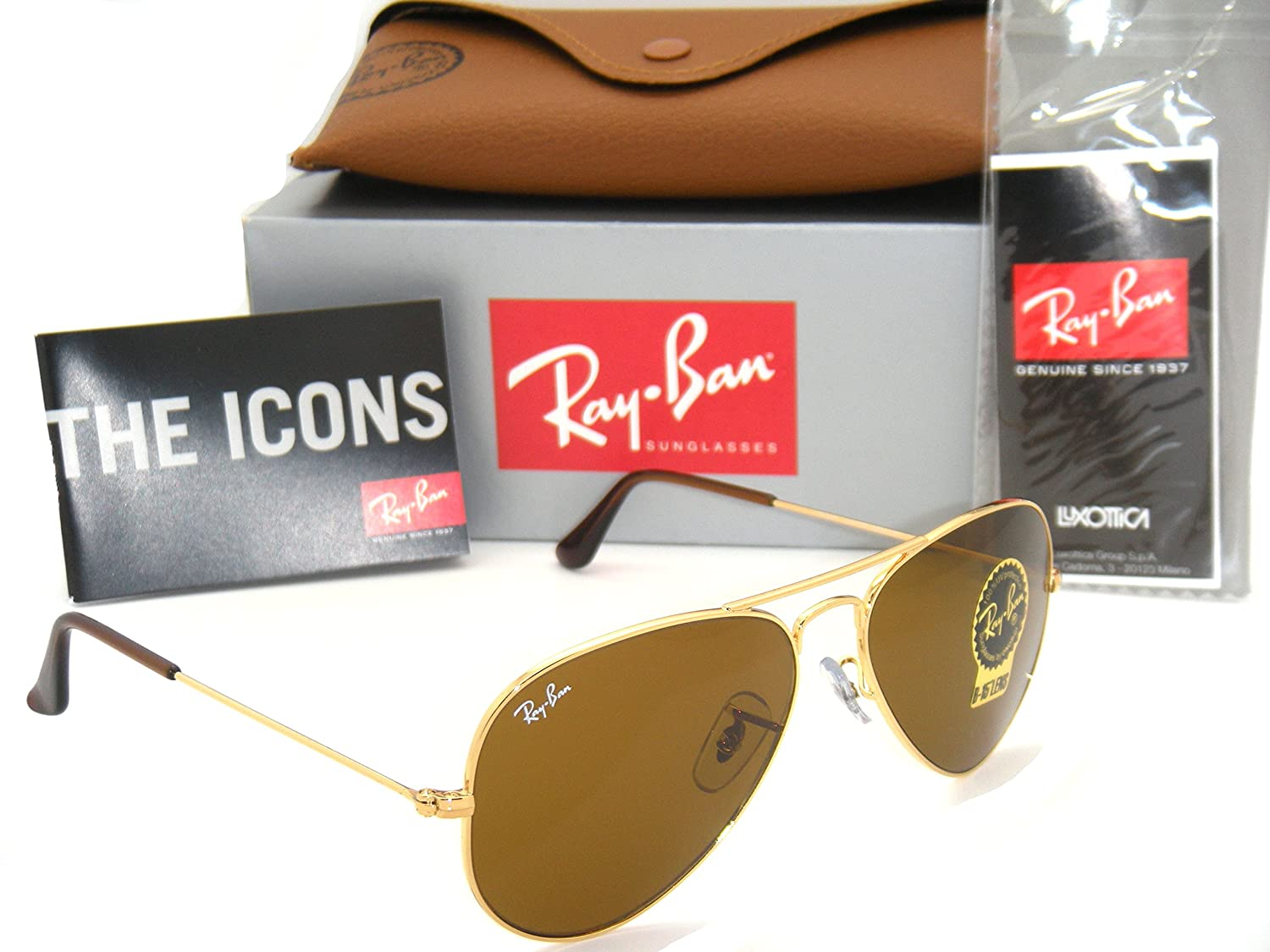 Amazon.com: Authentic Ray-Ban Aviator 3025 RB3025 001/33 55mm Gold ...