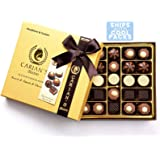 Bistro Chocolatier Assorted Chocolate Truffles Gold Gift Box with Royal Ribbon, Premium Chocolate Gift and Great for Chocolate Lovers, 25 Count