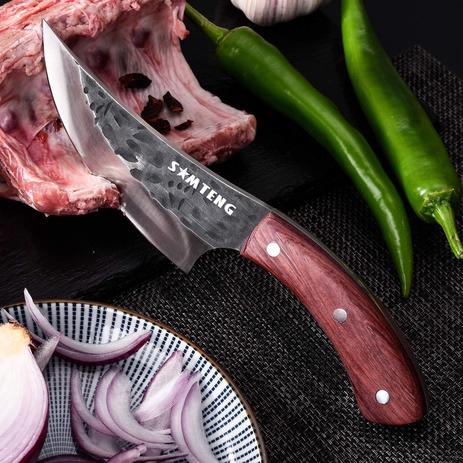 SMTENG Boning Knife 5.5 inch Handmade Forged Hammered kitchen Knife Full tang Sharp Blade Chef Knives Outdoor BBQ Meat Cleaver by SMTENG (Image #6)