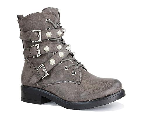 irisaa Damen Stiefeletten Stiefel schwarz mit Strass oder Perlen Schnür Biker Boots
