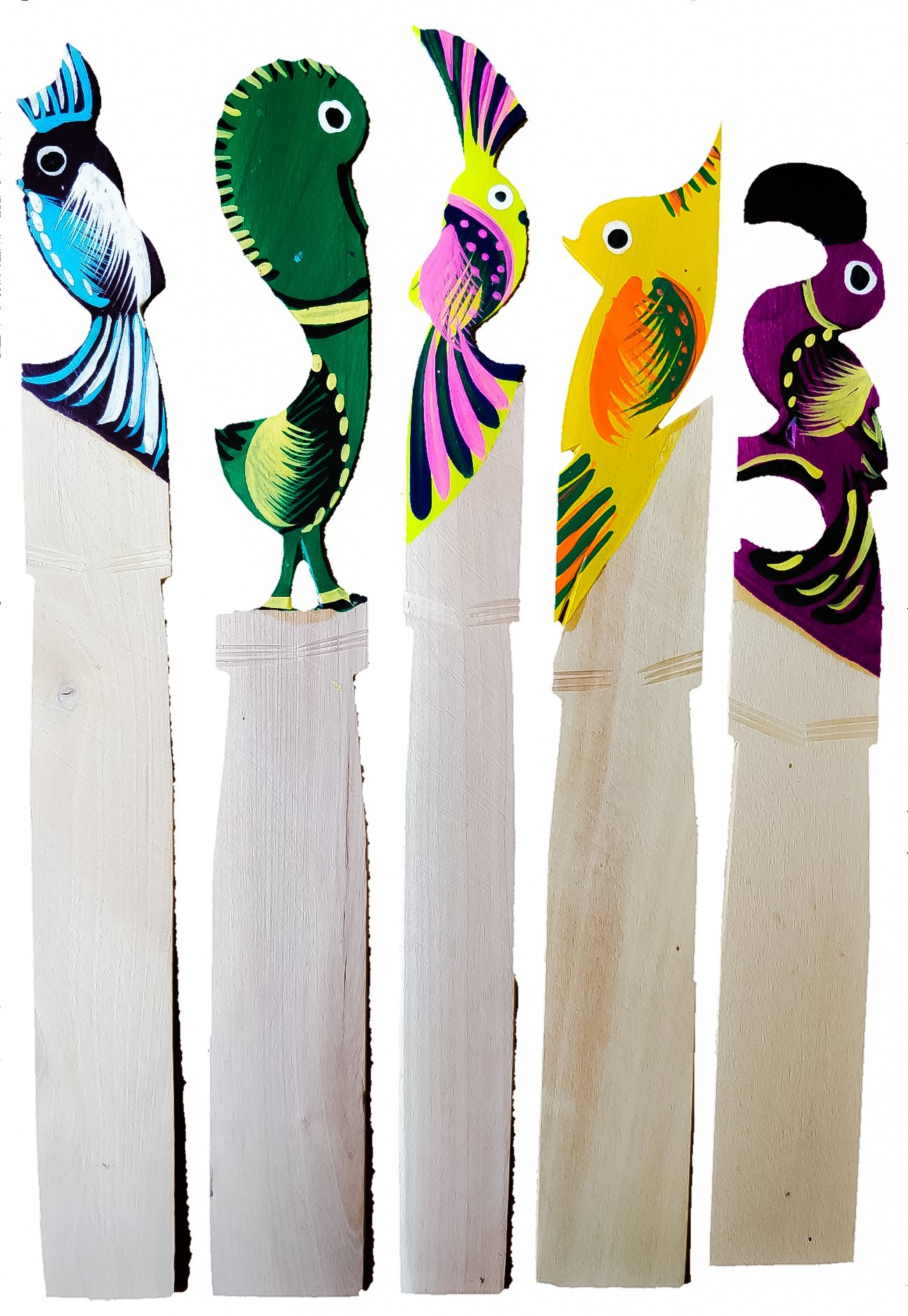 Unique Hand Carved Wooden Bookmarks 5 pcs Hand Painted Mexican Street Art for School Home Office & Library