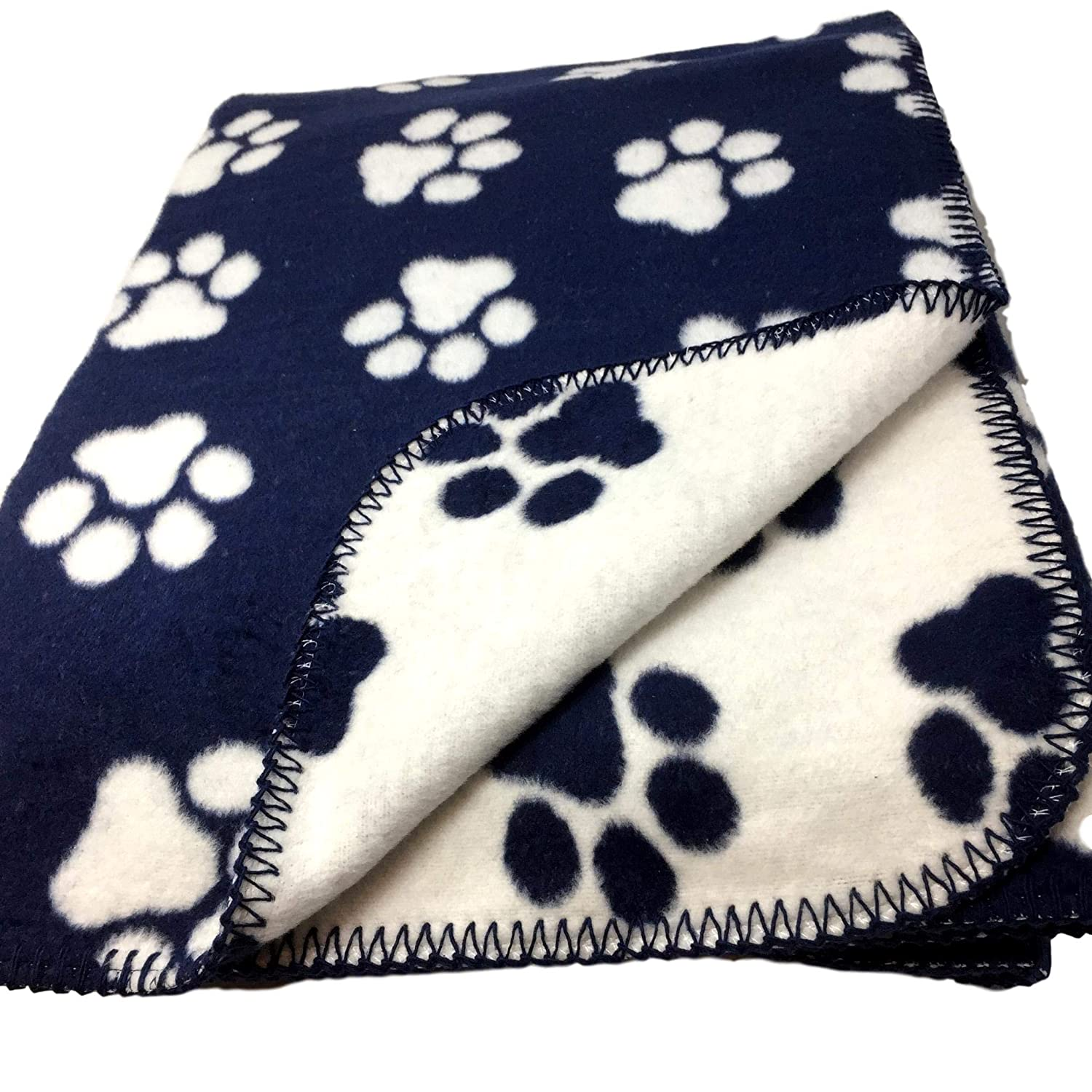 Navy Blue with White Paw Prints Reversible to White with Blue Paws Oversized Throw Blanket