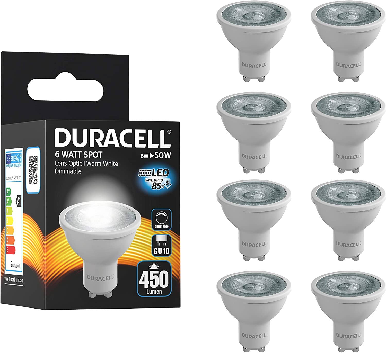12 x LED GU10 ONLY 5 WATTS GIVING 50 WATTS OF LIGHT BRANDED WARM WHITE DIMMABLE