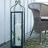 Varia Living Große hohe Laterne/Windlicht Lari aus Metall/Eisen für große Kerze - Höhe 80 cm - genügend Platz für Deko - einsetzbar draußen im Garten oder drinnen drinnen