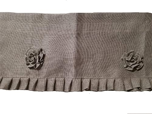 AT Primitive Country Burlap Rose and Ruffle Window Valance Light Gray