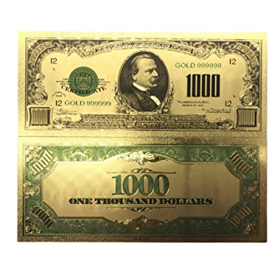 blinkee Collectible 1000 Dollar American Bill 24k Gold Plated Fake Banknote Currency for Decoration: Toys & Games