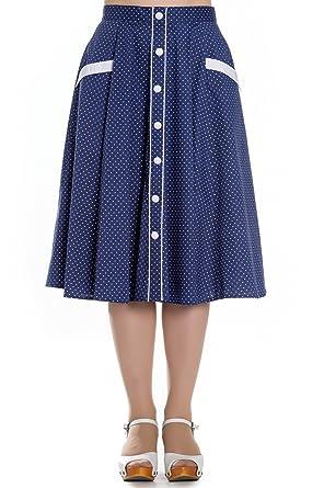 7b94d78eba Hell Bunny Navy Blue Martie Polka Dot 50s Vintage Skirt at Amazon ...
