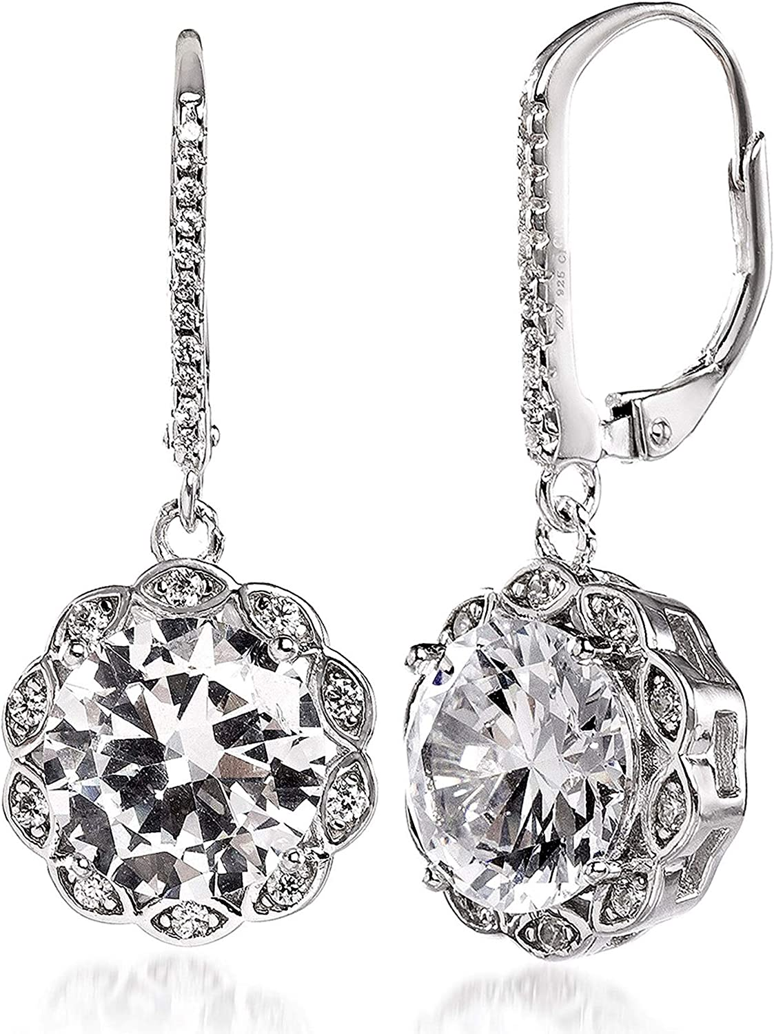 INSPIRED BY YOU. Rhodium Plated Sterling Silver Cubic Zirconia Antique Style Halo Leverback Drop Dangle Earrings for Women