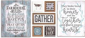 Patton Wall Decor Rustic Farmhouse Gather Mixed Media Seven Piece Wall Art Sets