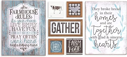 Patton Wall Decor Rustic Farmhouse Gather Mixed Media Seven Piece Wall Art Set