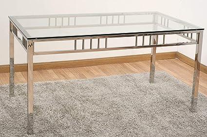 DRW Mesa Comedor Acero y Cristal Cuadrada 160x75x90 cm ...