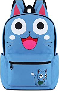 Roffatide Anime Fairy Tail Backpack Cosplay Happy Cat Ears Backpack Teens Boys Girls School Bag