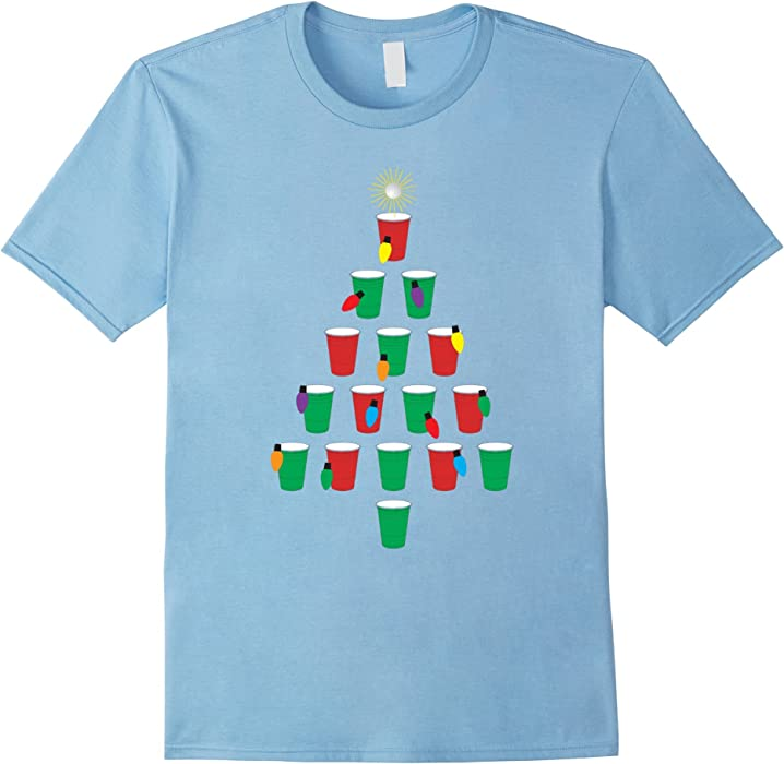 Amazon.com: Mens Beer Pong Christmas Tree - Holiday Shirt Design ...