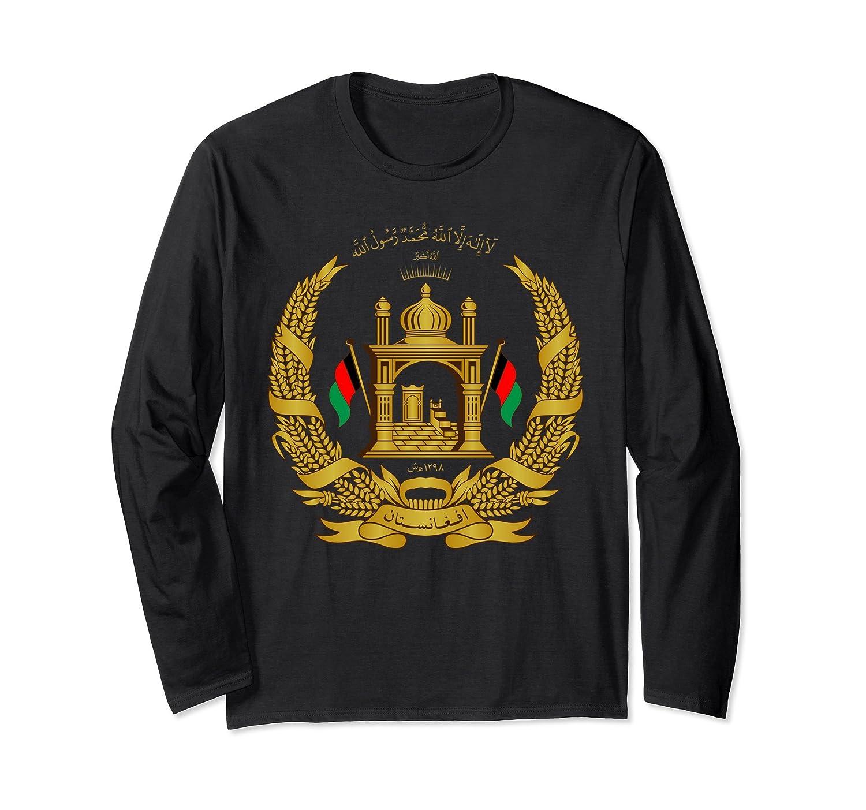 Afghanistan T-Shirt Afghan Flag Gold Emblem Long Sleeve-alottee gift