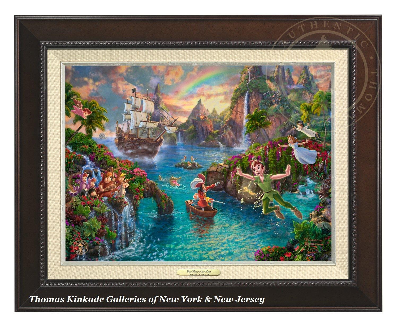 Thomas Kinkade Disney Peter Pan's Never Land 12'' x 16'' Canvas Classic (Espresso)