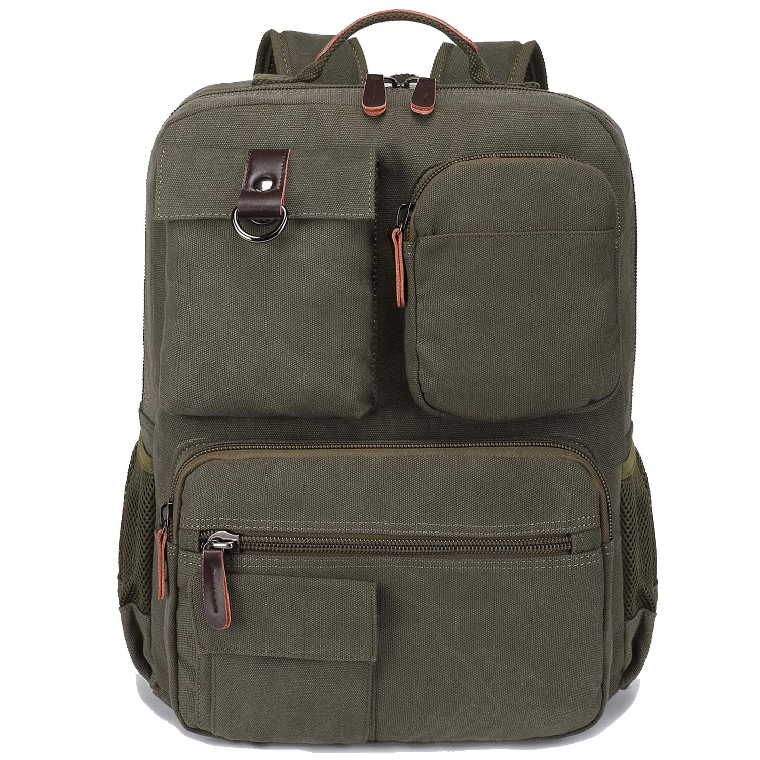 School Backpack Vintage Canvas Laptop Backpacks Men Women Rucksack Bookbags (Army Green)