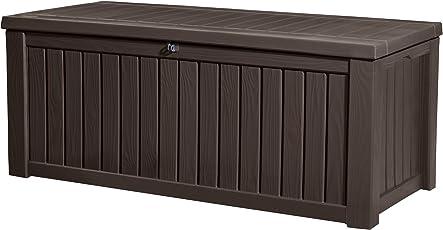 Keter Rockwood Plastic Deck Storage Container Box Outdoor Patio Garden Furniture 150 Gal Brown  sc 1 st  Amazon.com & Outdoor Storage : Patio Lawn u0026 Garden : Amazon.com