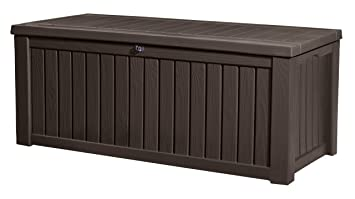 Exceptional Keter Rockwood Plastic Deck Storage Container Box Outdoor Patio Garden  Furniture 150 Gal, Brown