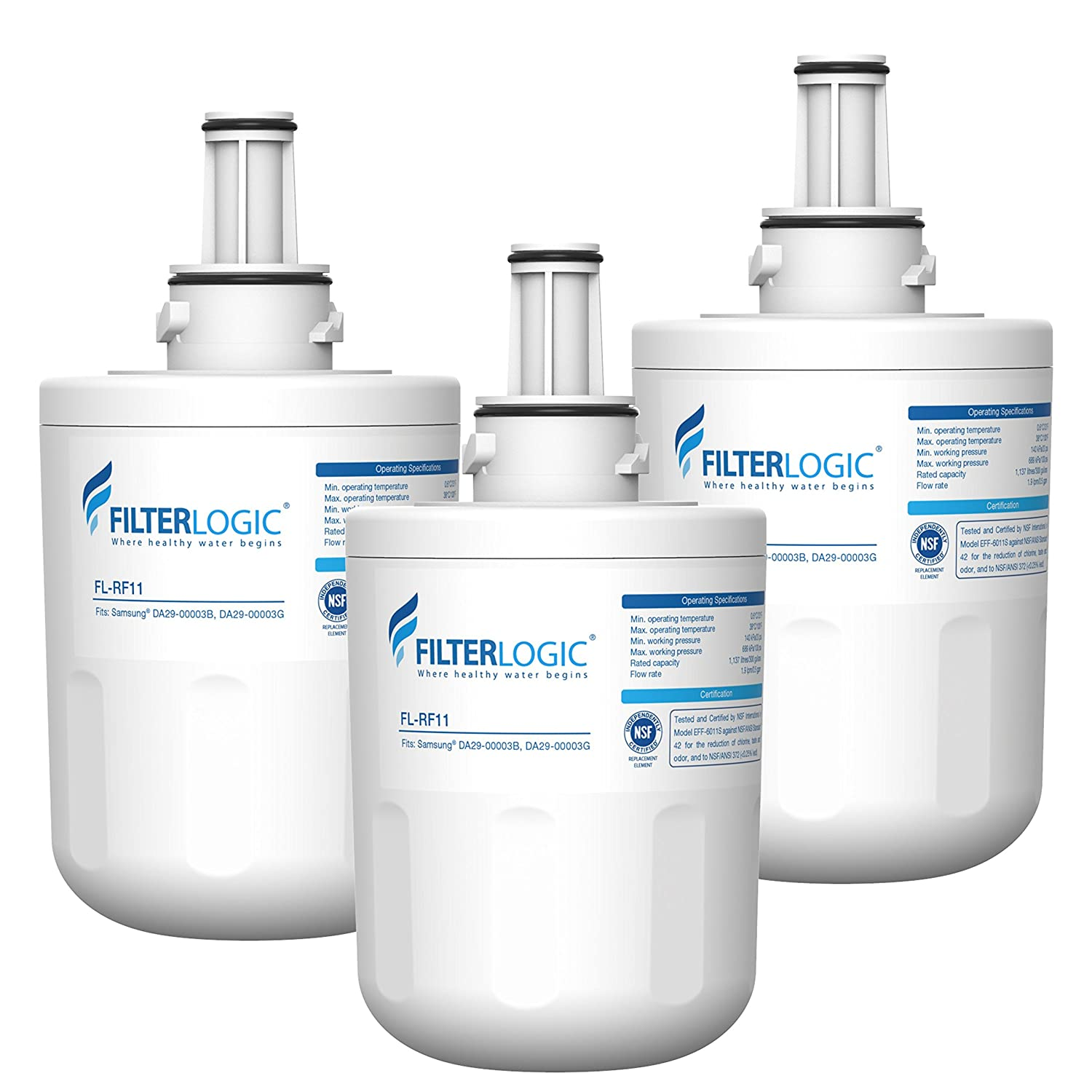 FilterLogic DA29-00003G Refrigerator Water Filter, Replacement for Samsung DA29-00003B, RSG257AARS, RFG237AARS, DA29-00003F, HAFCU1, RFG297AARS, RS22HDHPNSR, WSS-1, WFC2201 (Pack of 3)